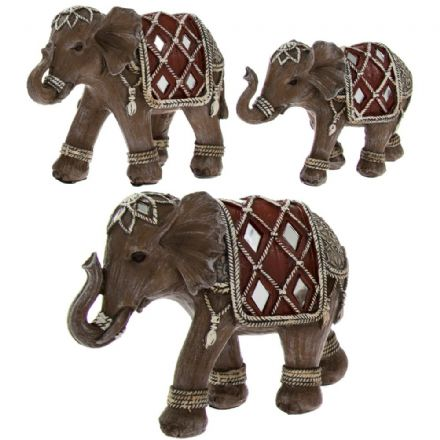 Set of 3 Wood Effect Decorative Elephant Ornaments with Mirrored Detail